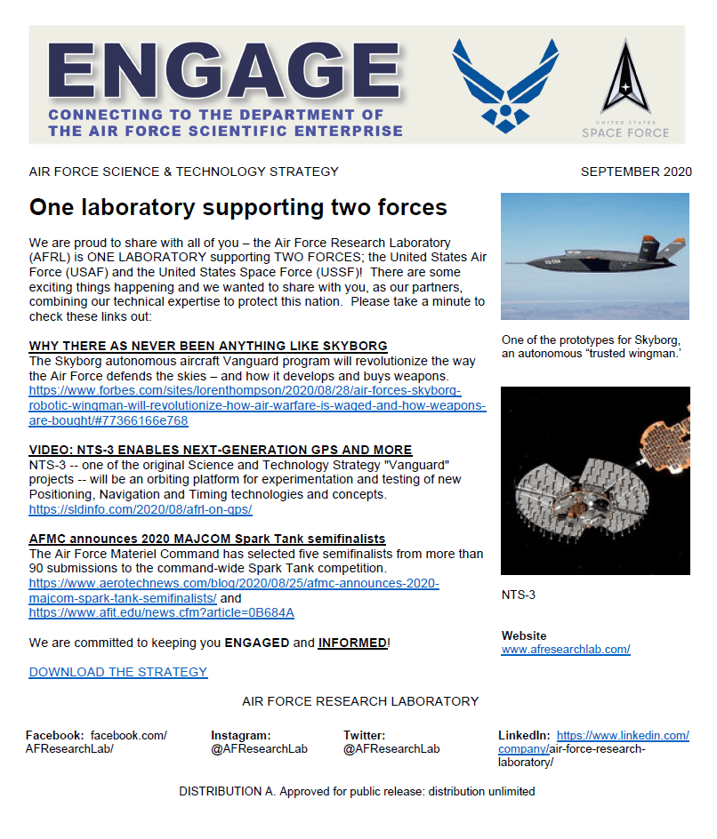 ENGAGE Newsletter: Connecting the  Department of the Air Force Scientific Enterprise